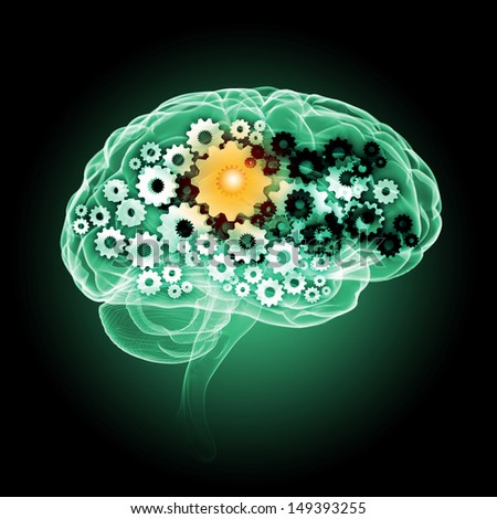 Illustration of human brain with cogwheel mechanisms