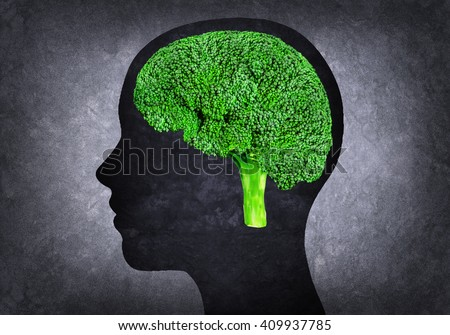 Illustration of human head with brain instead broccoli - stock photo
