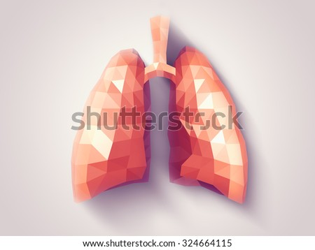 Illustration of human lungs with faceted low-poly geometry effect - stock photo