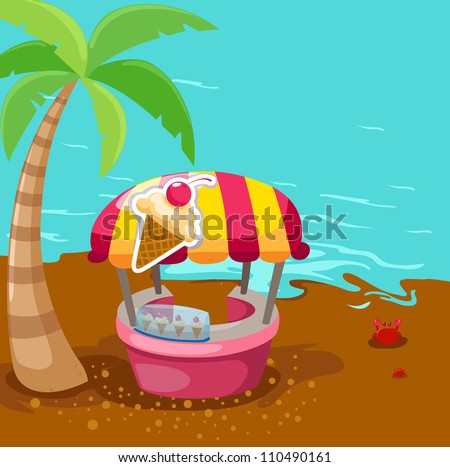 illustration of ice cream stand shop on the beach - stock photo