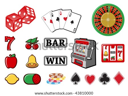 illustration of  icon set or design elements relating to casino.