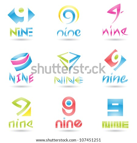 illustration of Icons for number nine isolated on white background