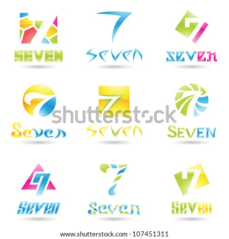 illustration of Icons for number seven isolated on white background