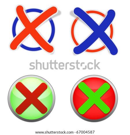 illustration of icons of validation. Look for vector version in my portfolio. - stock photo