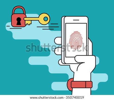 Illustration of identification of fingerprint on smartphone. Human line contour hand holds a smartphone and doing fingerprint scanning process to get access - stock photo