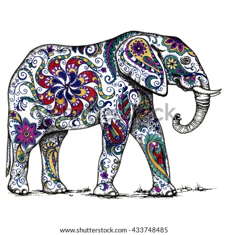 Illustration of indian elephant, decorate with floral  patterns - stock photo