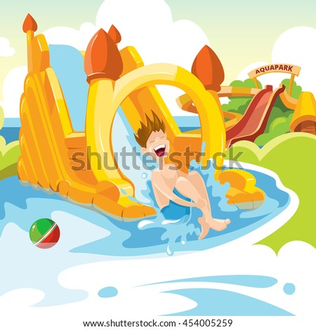 illustration of inflatable castles and children water hills on playground. Set of web banners with picture of inflatable castles. - stock photo