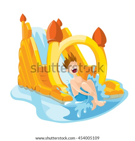 illustration of inflatable water hills on playground. The cheerful boy rides on water hills. Picture isolate on white background - stock photo