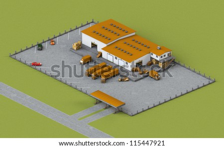 Illustration of infrastructure warehouse with truck, loader and boxes - stock photo