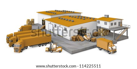 Illustration of infrastructure warehouse with truck, loader and boxes on white background - stock photo