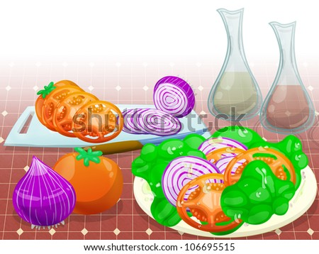 illustration of ingredient of simple salad