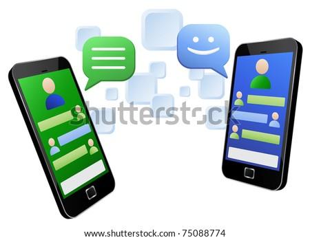 Illustration of instant messaging between two modern touch screen mobile phones - stock photo