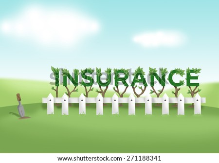 Illustration of Insurance Investment as a Nurtured Fenced Garden in a Bright Valley Concept for types of policies like Agricultural, Accident or Vehicle, Health or Sickness, and Life or Property - stock photo