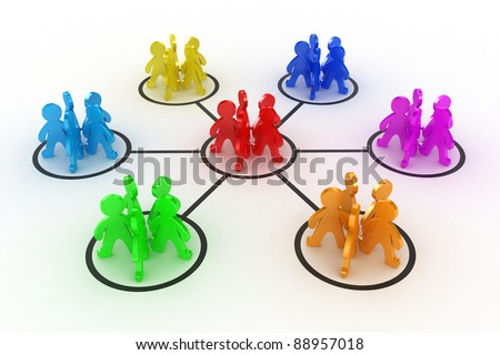 Illustration of interaction of different groups of people