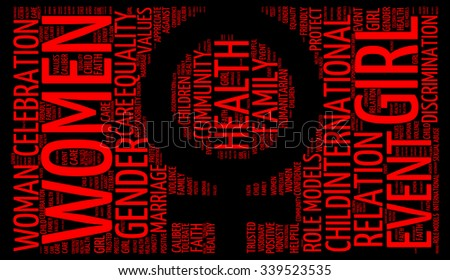 Illustration of International Day for the Elimination of Violence against Women concept in modern art word cloud. - stock photo