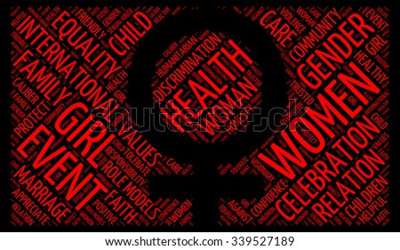 Illustration of International Day for the Elimination of Violence against Women concept in modern art word cloud tag. - stock photo
