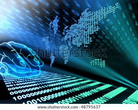 Illustration of internet shopping with binary background - stock photo
