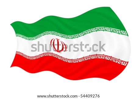 Illustration of Iranian flag waving in the wind - stock photo