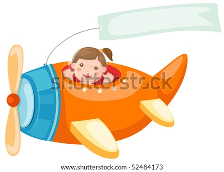 illustration of isolated airplane with blank banner on white - stock photo
