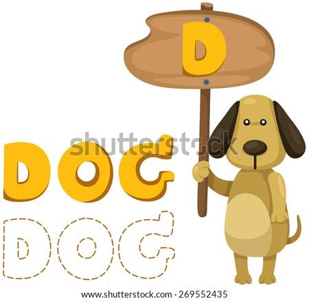 illustration of isolated animal alphabet d with dog - stock photo