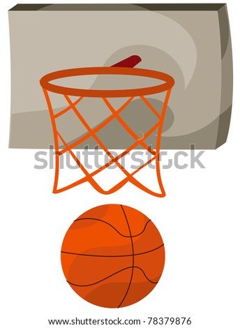 illustration of isolated basketball being shot into a net - stock photo