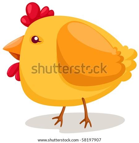 illustration of isolated cartoon chicken on white background - stock photo