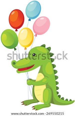 illustration of isolated cartoon crocodile holding balloons  - stock photo