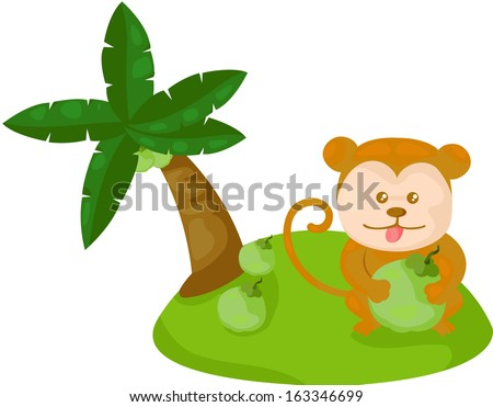 illustration of isolated cartoon monkey with coconut