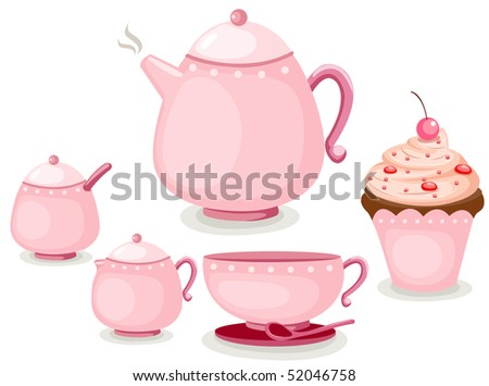 illustration of isolated coffee set or tea set and cup cake - stock photo