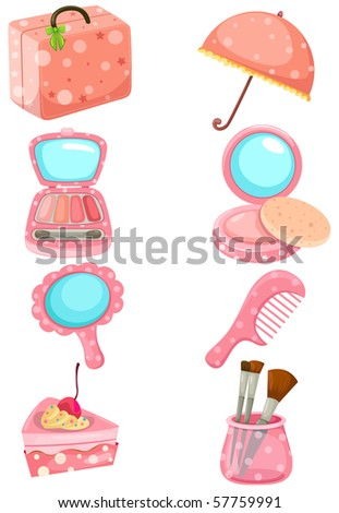 illustration of isolated cosmetic set on white background