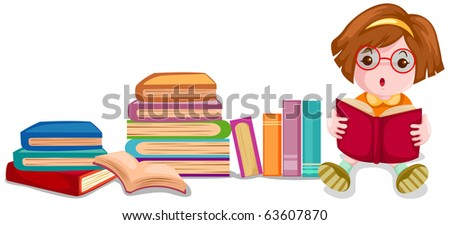 illustration of isolated cute girl reading book on white background - stock photo