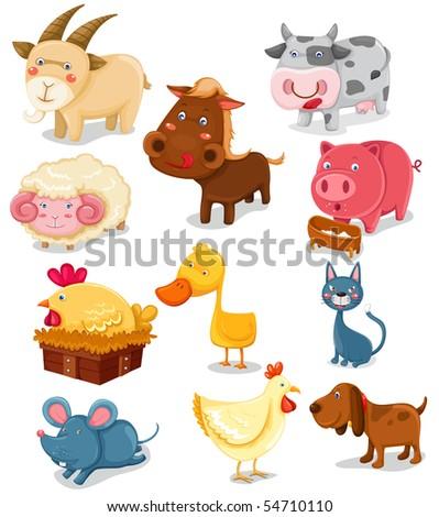 illustration of isolated farm animals set on white background - stock photo