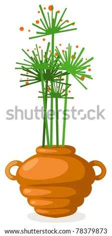 illustration of isolated flowers in vase on white background - stock photo