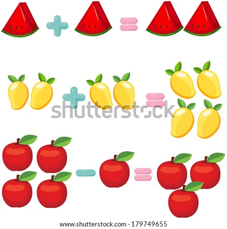 illustration of isolated fruits to learn mathematics - stock photo