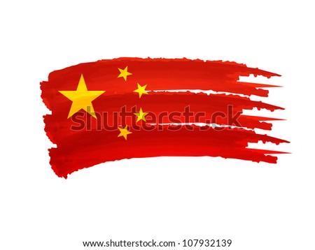 Illustration of Isolated hand drawn China flag - stock photo