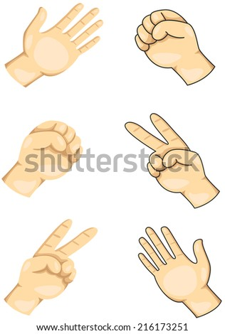 illustration of isolated hands playing scissors, paper and rock - stock photo