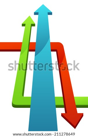 Illustration of isolated infographic arrows - stock photo