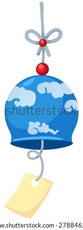 illustration of isolated japanese wind bell on white  - stock photo