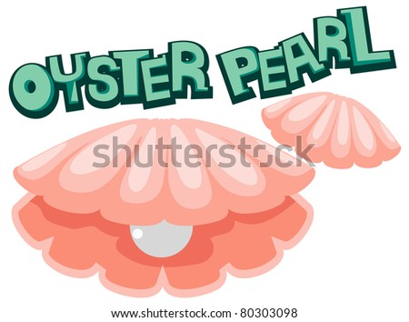 illustration of isolated letter of oyster pearl on white background - stock photo