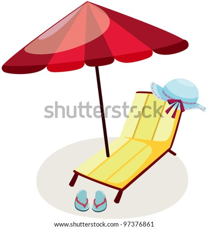 illustration of isolated outdoor chair and umbrella on white