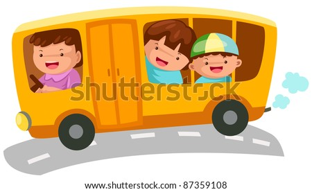 illustration of isolated  school bus on white background