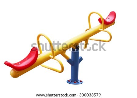 Illustration of isolated see saw on white background - stock photo