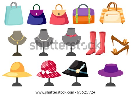 illustration of isolated set of accessories women on white - stock photo
