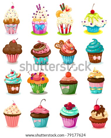 illustration of isolated set of cupcake on white background - stock photo