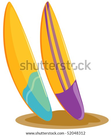 illustration of isolated surfboards  on white background
