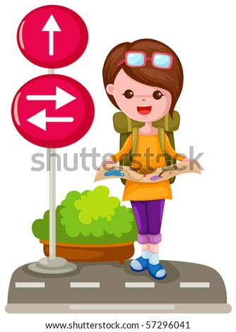 illustration of isolated tourist girl on white background