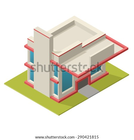 Illustration of isometric best store building. Placed on separated island. Easy to edit, clear and simple. - stock photo