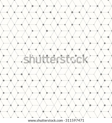 Illustration of Isometric Cube Geometric Lines Pattern with Random Dots Circles