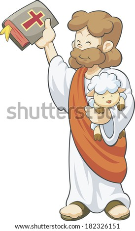 Illustration of Jesus holding the Bible and a lamb