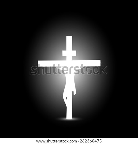 Illustration of Jesus on a cross isolated on a dark background. - stock photo
